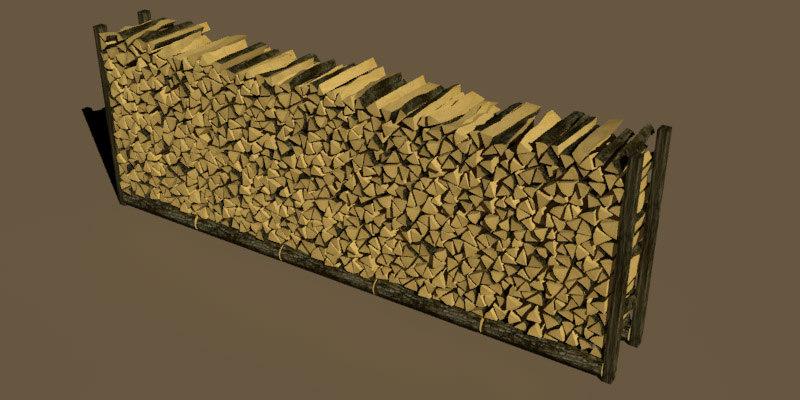 stack wood 3d model