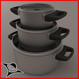 3d pans modeled model