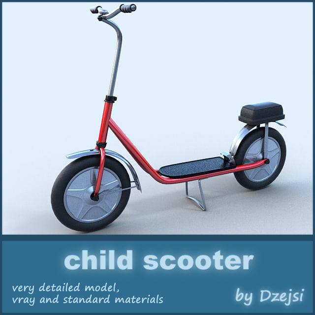 child scooter 3d fbx