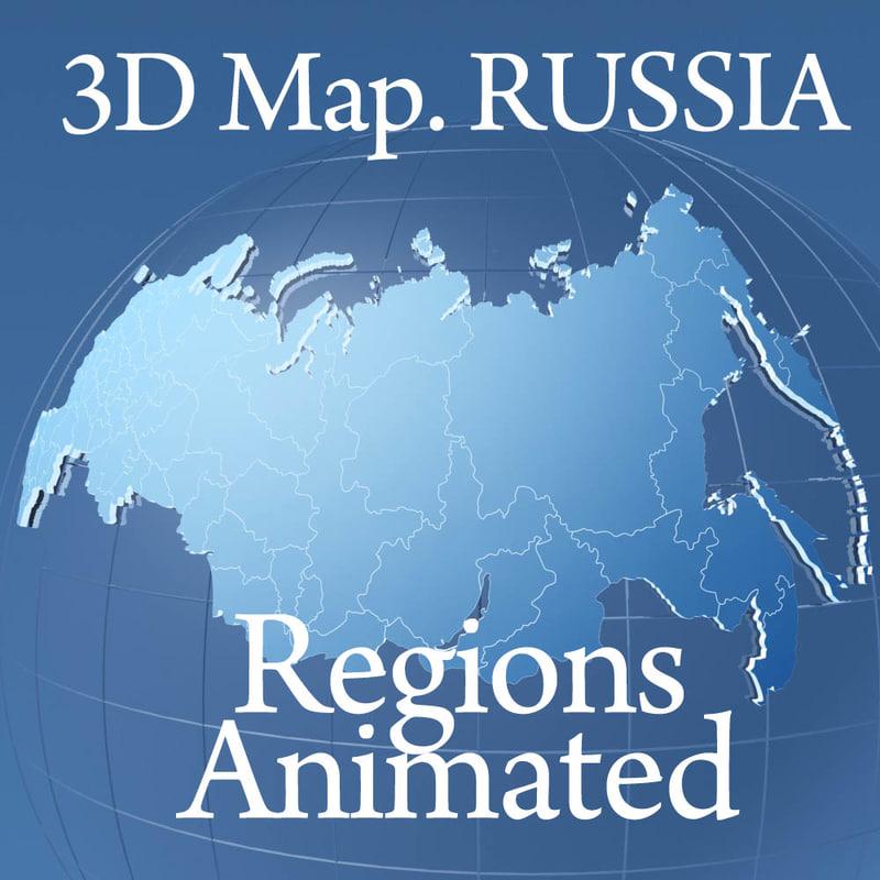 globe russia regions 3d max