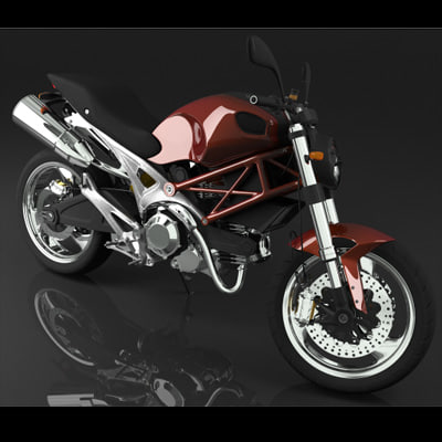 Motorcycle ducati monster 3d model for Monster 3d model