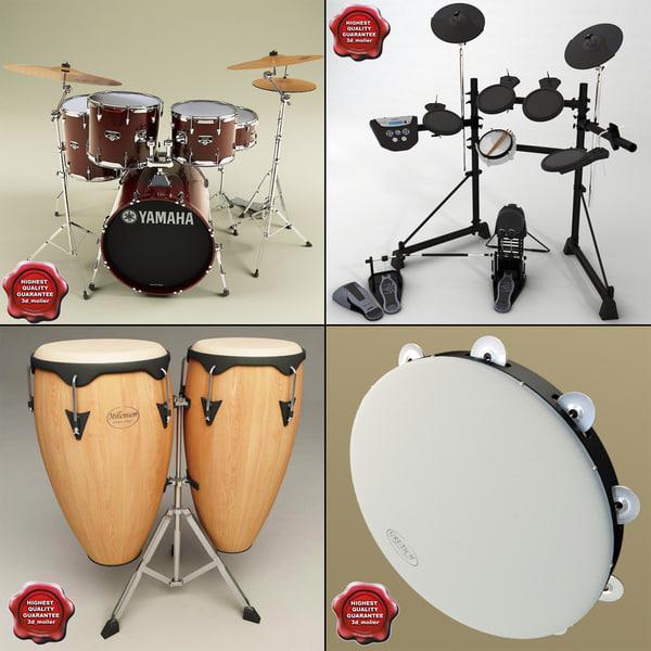 music instruments v2 drums 3d model