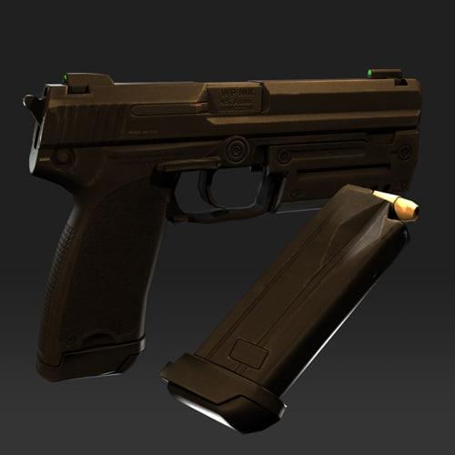 realtime pistol military 3d model
