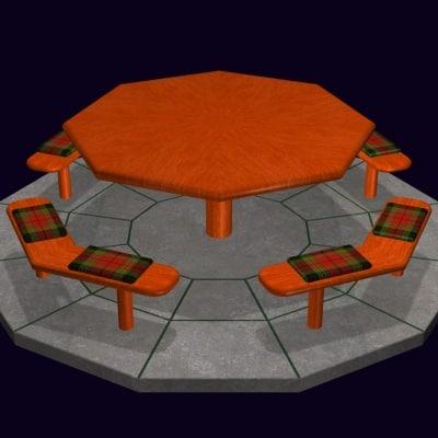 free picnic table 3d model