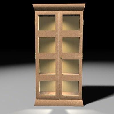 3d pine wood cabinet model