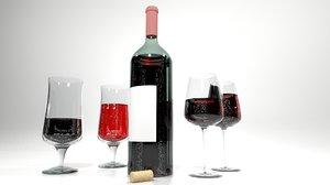 wine bottle glasses 3ds