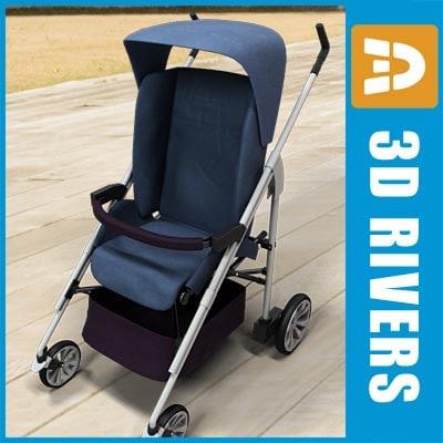baby stroller blue 3d 3ds