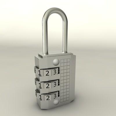 3d model number padlock