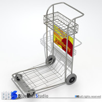 airport luggage cart 3d c4d