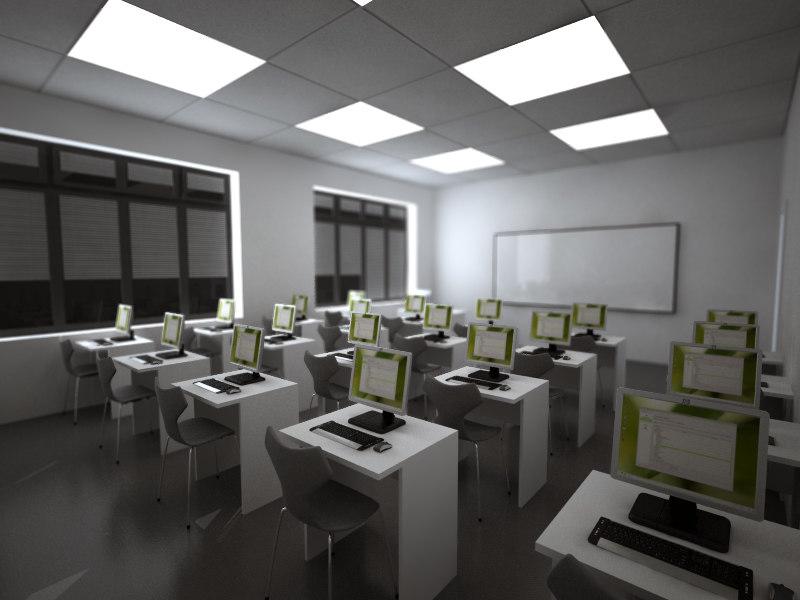 3d max cad classroom interior