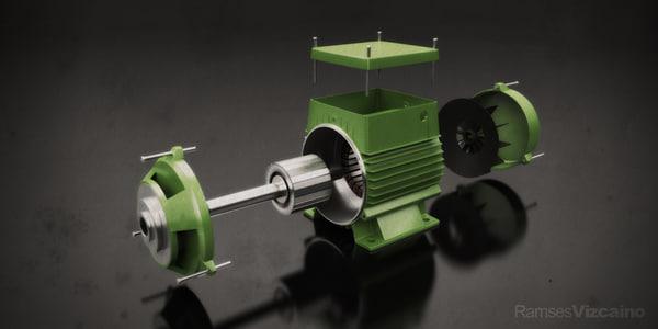 monofasic electric motor 3d obj
