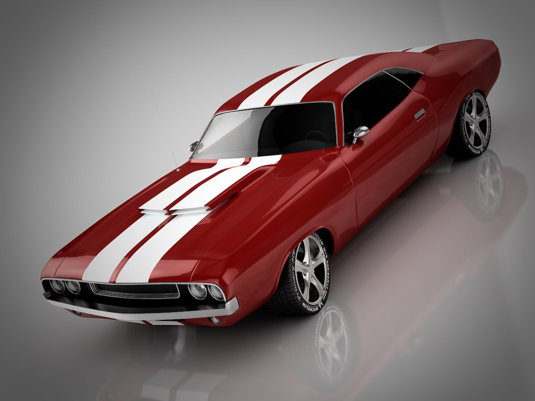 3d model dodge challenger racing car