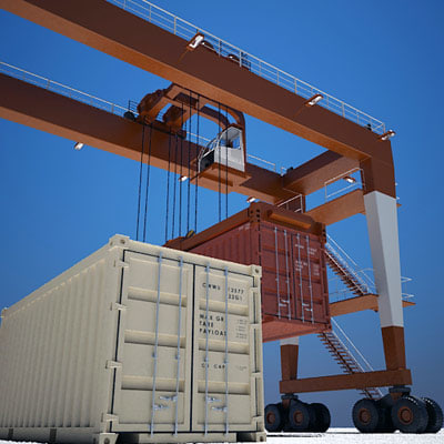 3d model gantry crane shipping containers