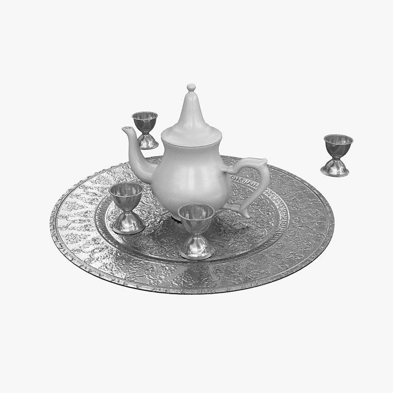 arabic teapot cups 3d model