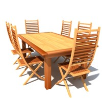 patio table chairs 3d model