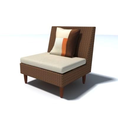 leboxe rattan sofa 3d model