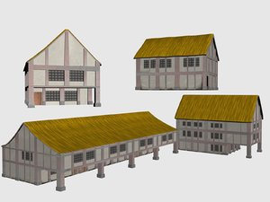 3d max group houses medieval buildings