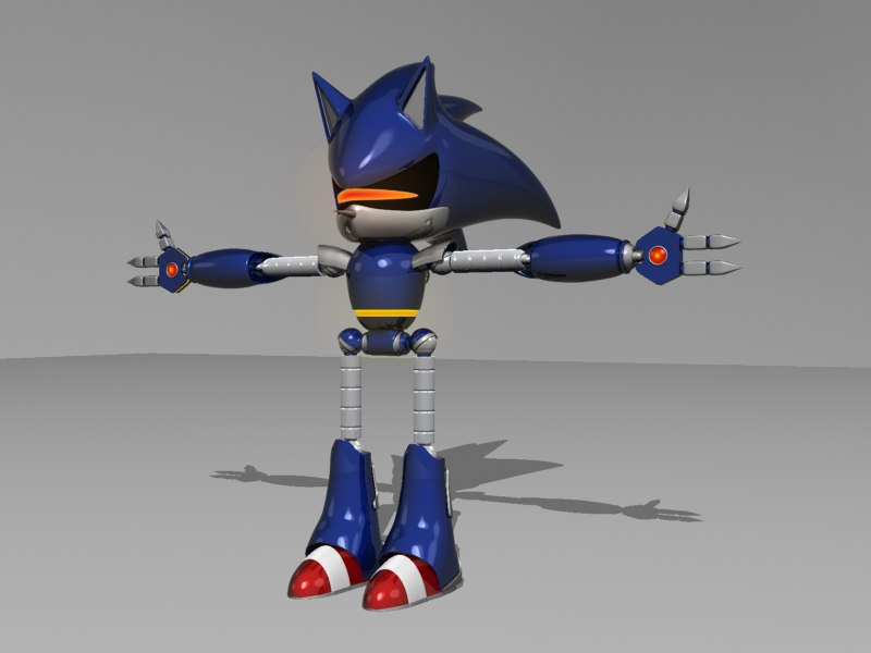 mecha style sonic hedgehog 3d max