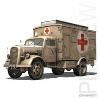 3d opel blitz - ambulance model
