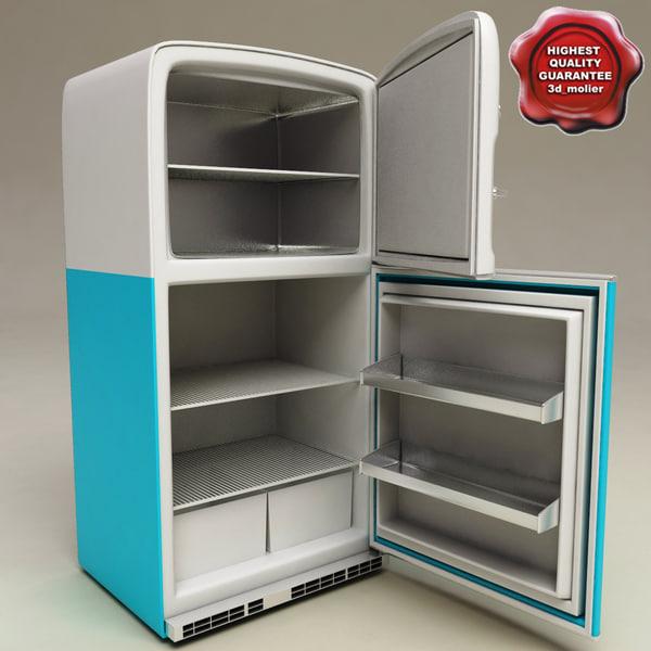 retro refrigerator big chill 3d model