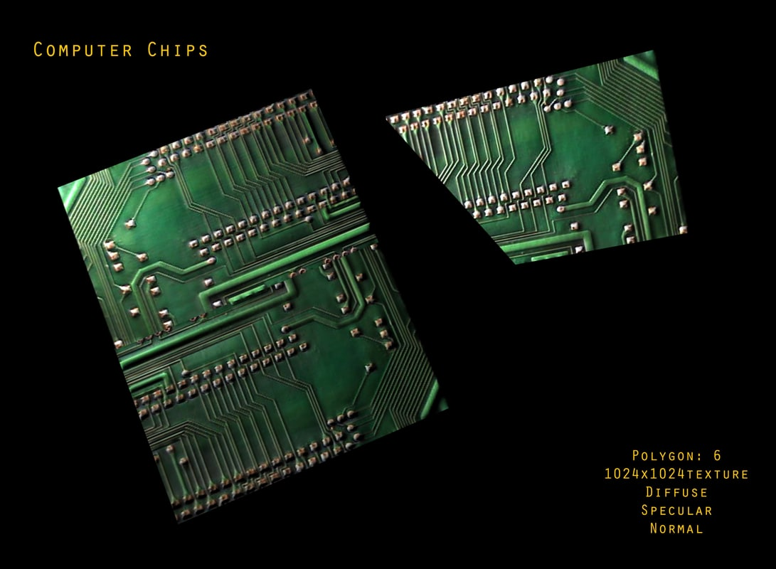 Green Computer Circuit Board With Electronics Components And Maya