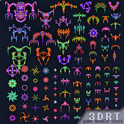 3d sci-fi aliens fleet extreme model