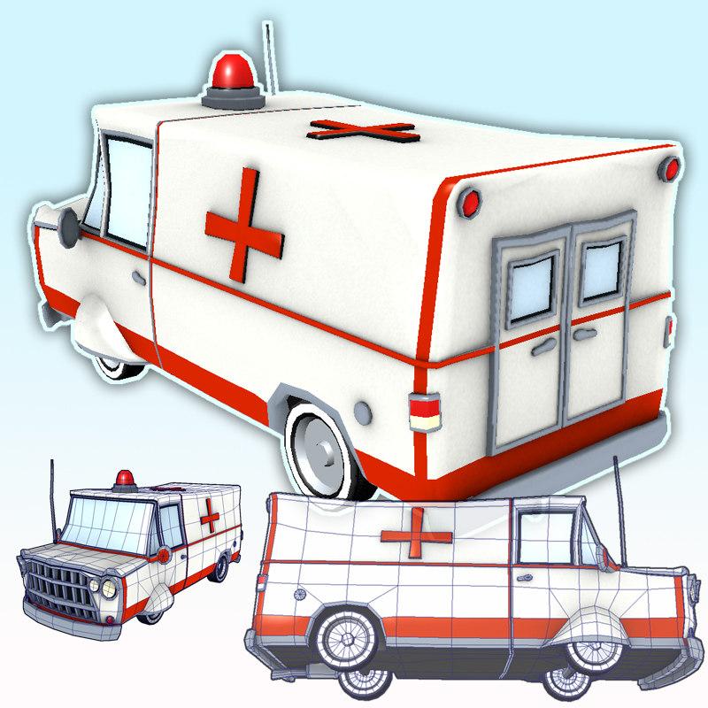 3d emt ambulance van car wheels model