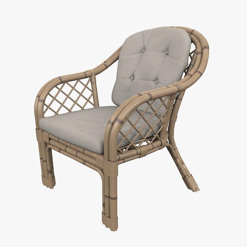 armchair bamboo classic 3d model