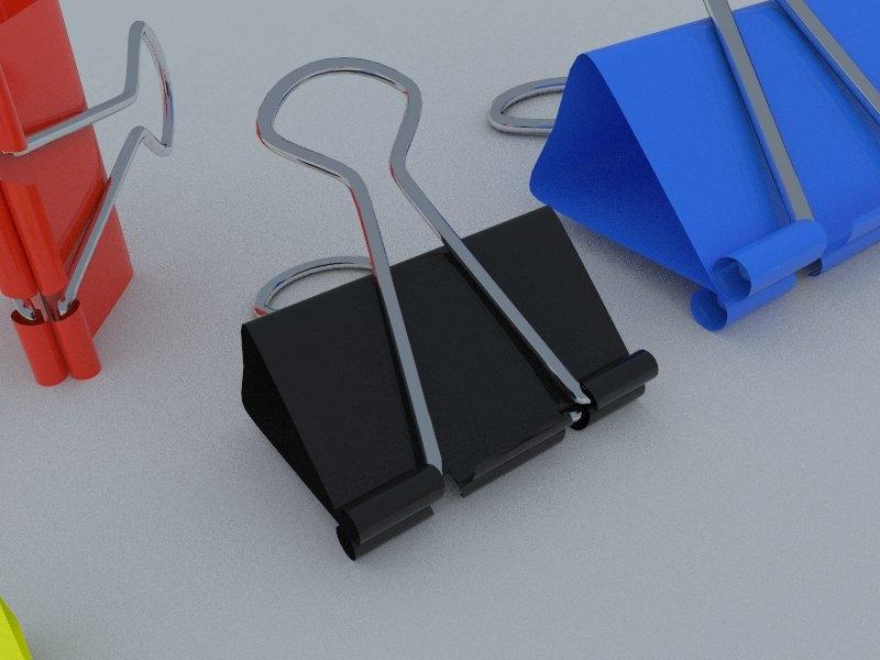 3d binder clips model