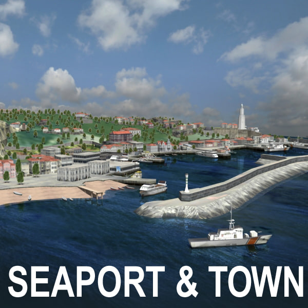 urban city fishing town 3d model
