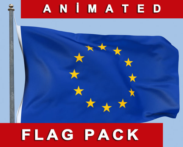 max animation european union flag wind