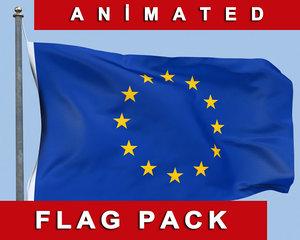 max animation european union flag wind