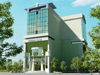 3d rise building exterior model