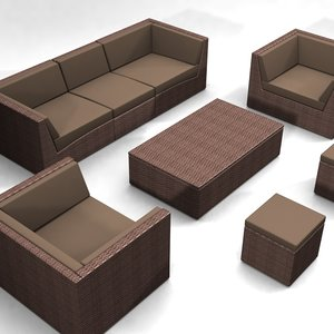 woven furniture set sofa armchair 3d model