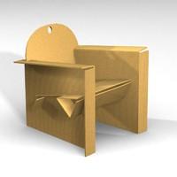 cardboard armchair 3d model