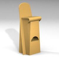 cardboard stool 3d 3ds