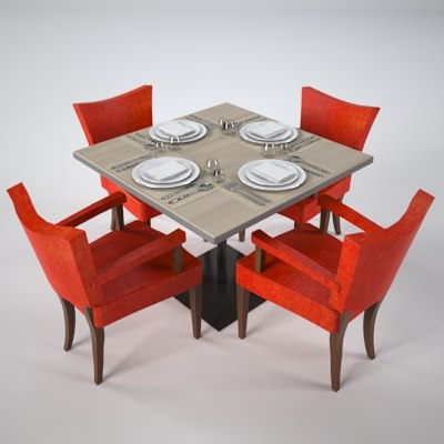 restaurant table 3d max. Black Bedroom Furniture Sets. Home Design Ideas