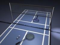 badminton court rackets 3d obj