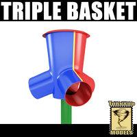 3d model of triple basket