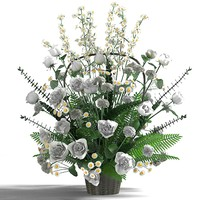 white splendor bouquet rose daisy camomile fern