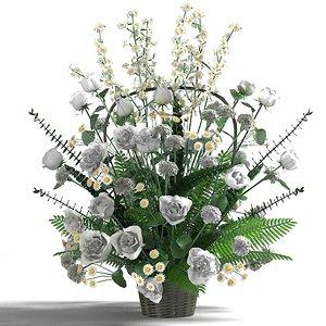 white splendor bouquet 3d model