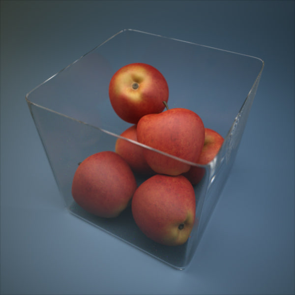 3d glass apple bowl