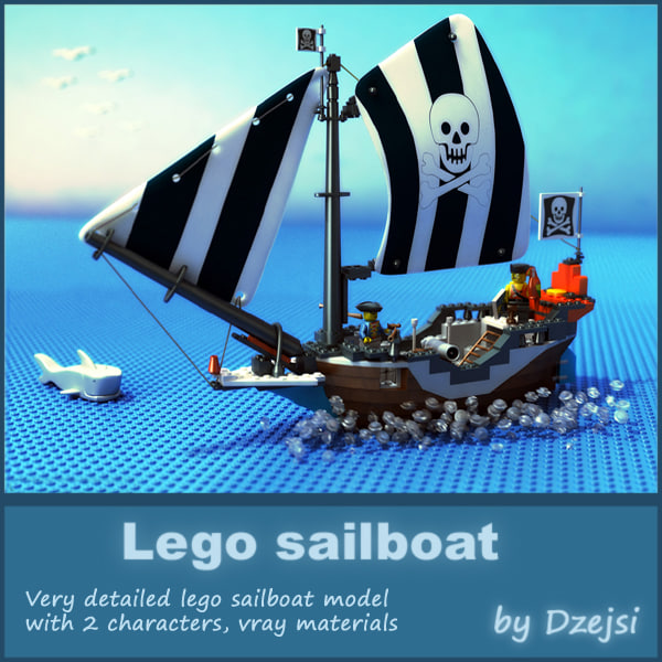 lego sailboat 3d model