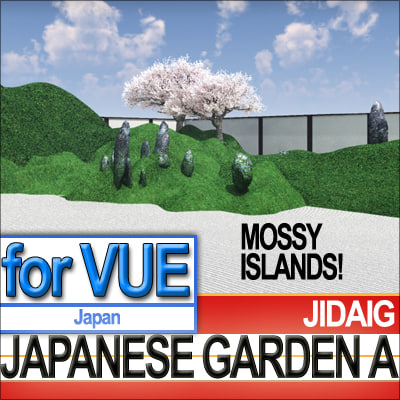 3d model japanese garden mossy islands