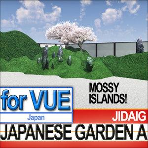 3d model japanese garden mossy islands