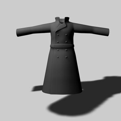 3d model of long coat