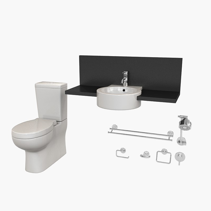bathroom set caroma liano 3d model