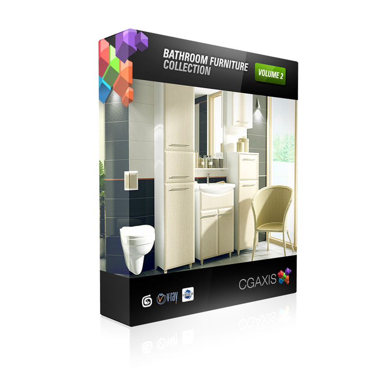 volume 2 sets bathroom furniture 3d model