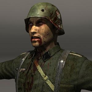 zombie soldier german 3d model