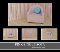 pink single sofa 3d model
